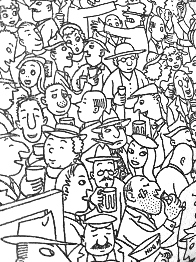 A crowd in a pub.