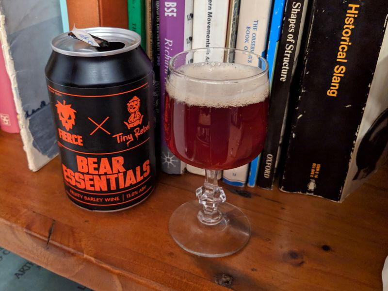 Barley wine on a bookshelf