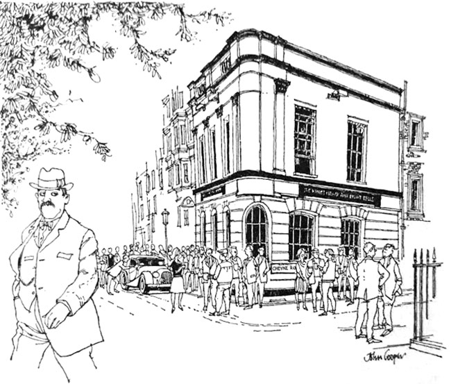 A drawing of a pub.