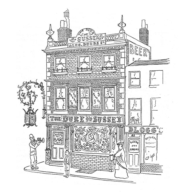 A drawing of a Victorian pub.