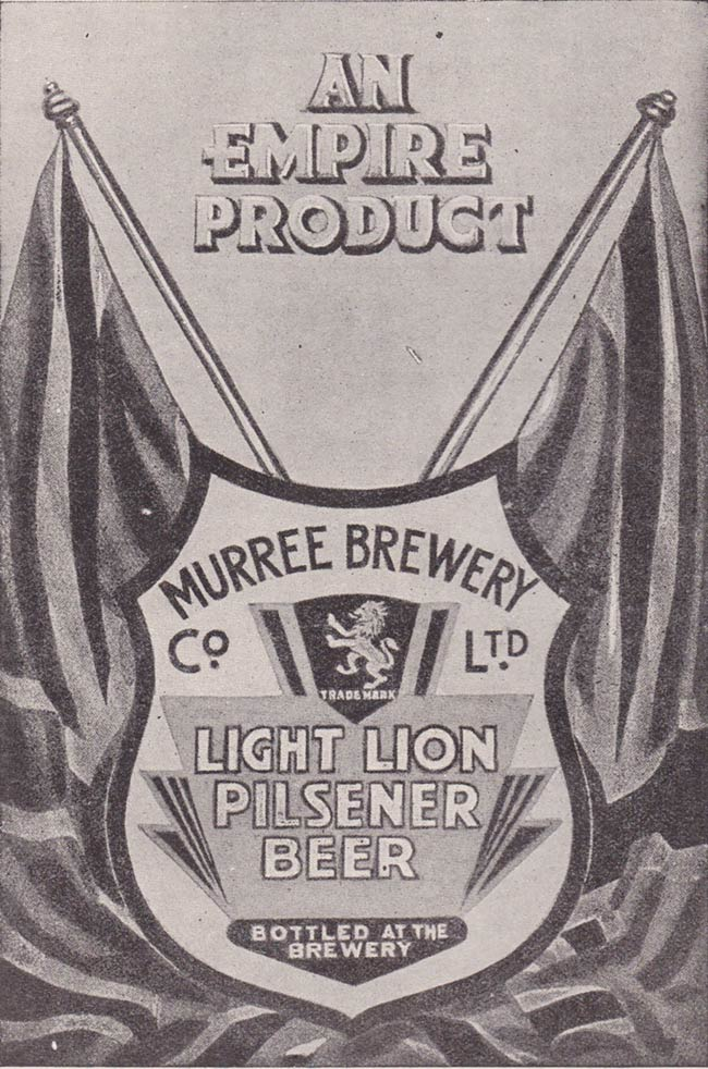 Advert for lion pilsener beer.