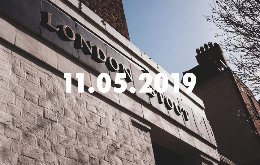 Header: a London pub with date.