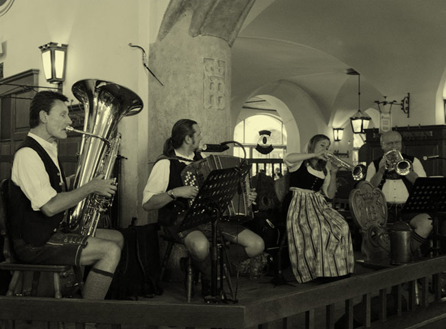 Oompah band at the Hofbrauhaus.