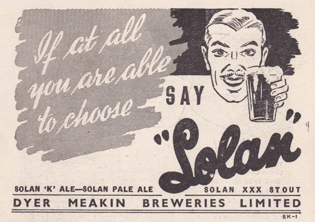 Advertisement for Dyer Meakin Breweries and their Solan brand beers.