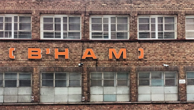 Old sign: B'HAM (Birmingham).
