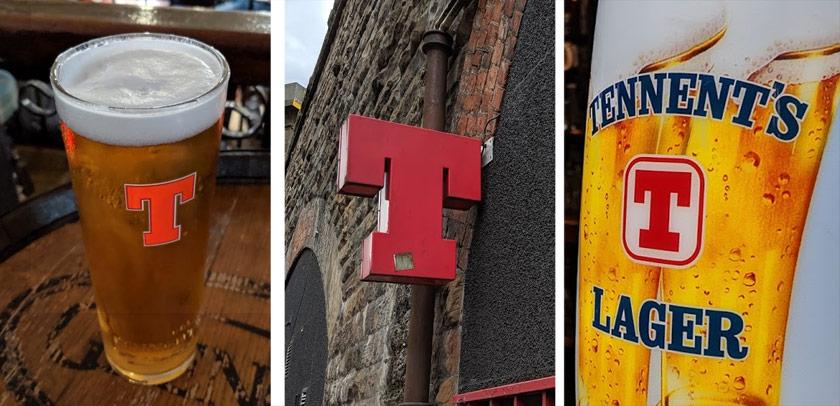 Tennent's Lager: pint, sign, keg font.