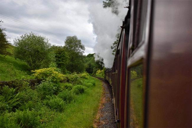 A steam train in full flow.