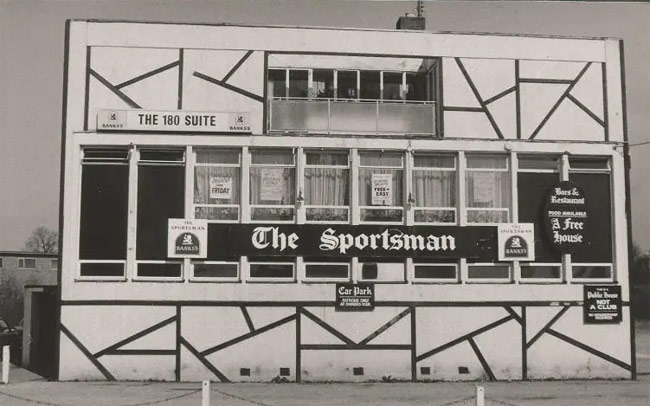 The Sportsman, a strange-looking modern pub.