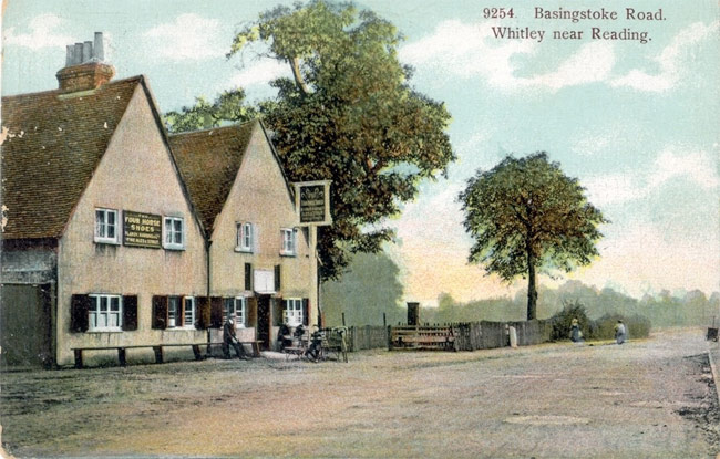 An old postcard of the Four Horseshoes.