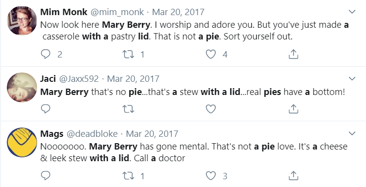 "Twitter screengrab: ""That's not a pie""."
