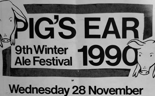 Detail from the cover of the Pigs Ear programme for 1990.