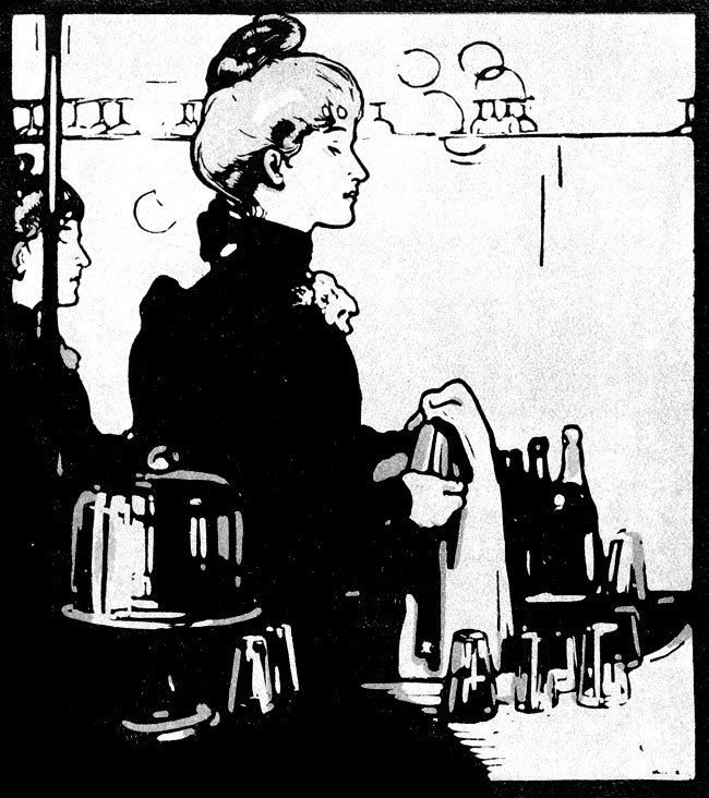 Drawing of a barmaid.