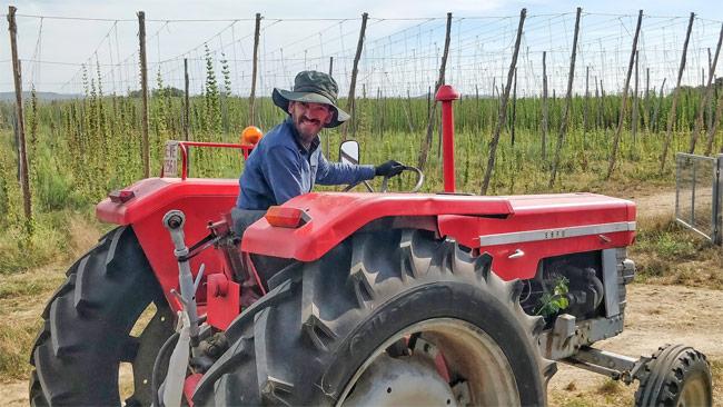 Jordi Sanchez on his tractor.