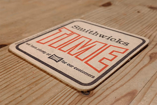 A Smithwick's TIME beer mat.