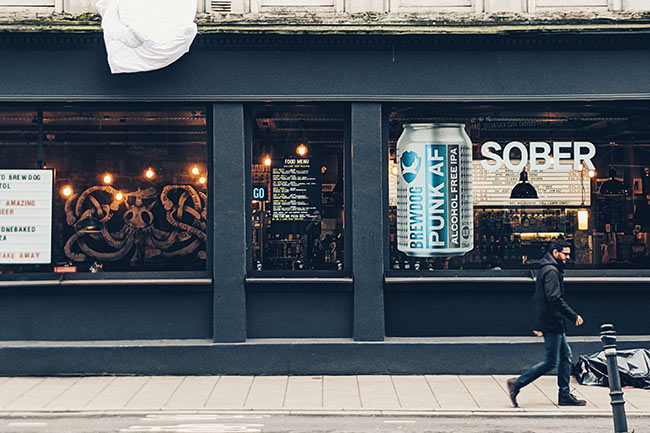 Brewdog bar with SOBER in the window.