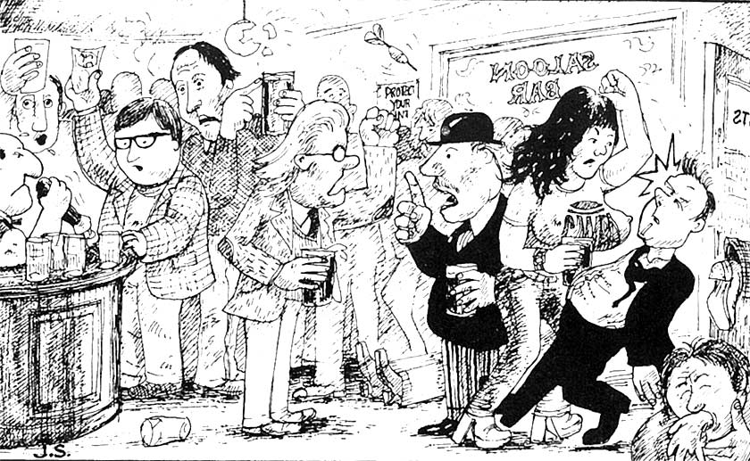 Cartoon: CAMRA members in a pub.