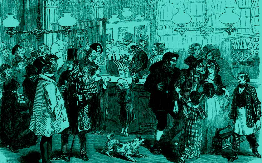 The temptation of the gin palace door, 1844