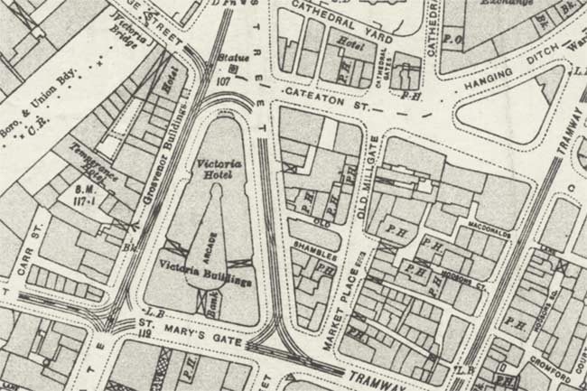 Map of Manchester with many public houses.